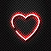 Vector realistic isolated neon sign of heart for decoration and covering on the transparent background.