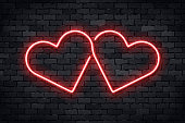 Vector realistic isolated neon sign of Heart for template decoration and layout covering on the wall background. Concept of Happy Valentines Day.