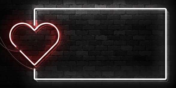 Vector realistic isolated neon sign of Heart frame symbol for template decoration and covering on the wall background. Concept of Happy Valentine's Day.