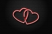 Vector realistic isolated neon sign of hearts for decoration and covering on the wall background. Concept of love and romantic event.