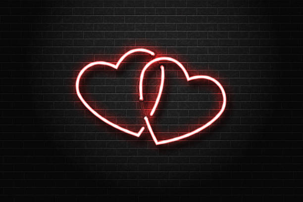 現実的なベクトルの装飾の壁の背景上でカバーする心のネオンサインを隔離しました。愛とロマンチックなイベントのコンセプトです。 ベクターアートイラスト