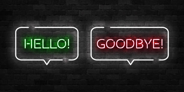vector realistic isolated neon sign of hello and goodbye logo for template decoration and covering on the wall background. - good bye stock illustrations, clip art, cartoons, & icons