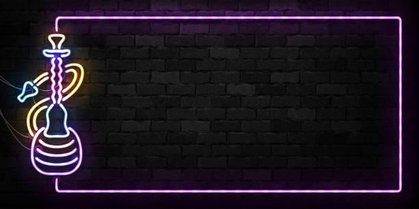 bildbanksillustrationer, clip art samt tecknat material och ikoner med vector realistiska isolerade neonskylt av vattenpipa ram symbol för dekoration och beläggning på väggen bakgrunden. begreppet hookah lounge. - water pipes