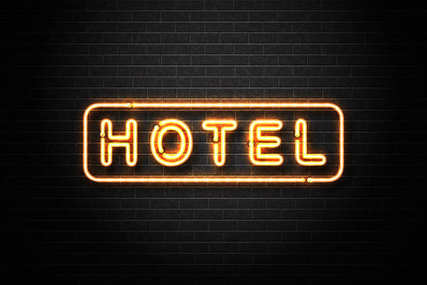 Vector realistic isolated neon sign of Hotel logo for decoration and covering on the wall background. vector art illustration