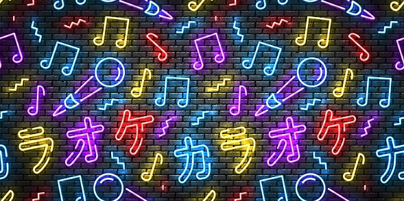 Vector realistic isolated neon sign of Karaoke in Japanese seamless pattern on a wall for website template decoration and wallpaper covering.