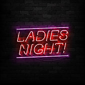 Vector realistic isolated neon sign of Ladies Night logo for template decoration and covering on the wall background. Concept of night club and party.