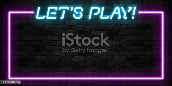istock Vector realistic isolated neon sign of Let's Play frame logo for template decoration and covering on the wall background. 1174848747