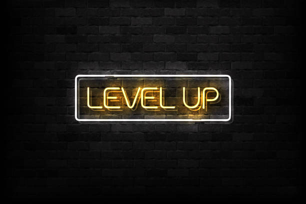 Vector realistic isolated neon sign of Level Up button logo for decoration and covering on the wall background. Vector realistic isolated neon sign of Level Up button logo for decoration and covering on the wall background. gambling stock illustrations