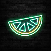 Vector realistic isolated neon sign of Lime icon for template decoration and invitation covering on the wall background.