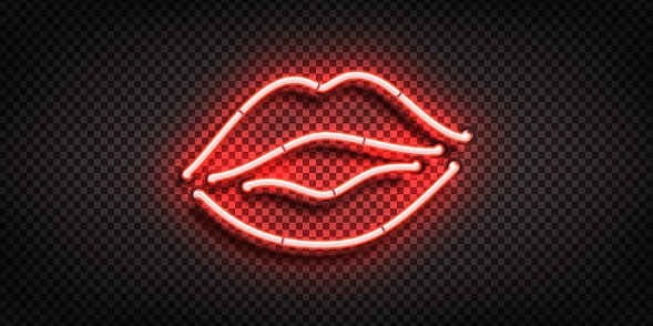 Vector realistic isolated neon sign of Lips logo for decoration and covering on the transparent background.