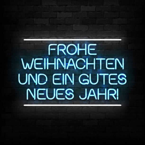 ilustrações de stock, clip art, desenhos animados e ícones de vector realistic isolated neon sign of merry christmas in german logo for decoration and covering on the wall background. concept of happy new year in germany. - berlin wall