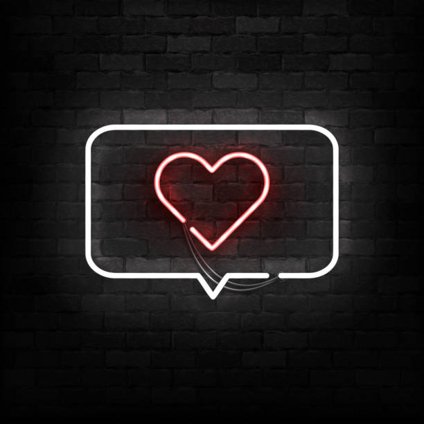 Vector realistic isolated neon sign of Message with Heart logo for template decoration and layout covering on the wall background. Concept of Happy Valentines Day. Vector realistic isolated neon sign of Message with Heart logo for template decoration and layout covering on the wall background. Concept of Happy Valentines Day. boyfriend stock illustrations