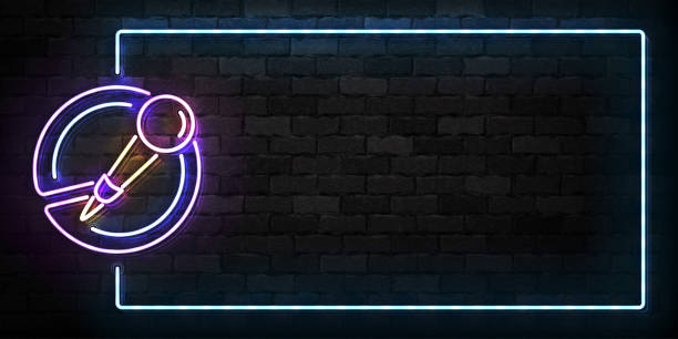 vector realistic isolated neon sign of microphone frame symbol for template decoration and covering on the wall background. concept of music, stand up comedy show and karaoke. - comedian stock illustrations