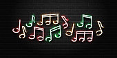 Vector realistic isolated neon sign of musical notes for decoration and covering on the wall background. Concept of music, dj and live concert.