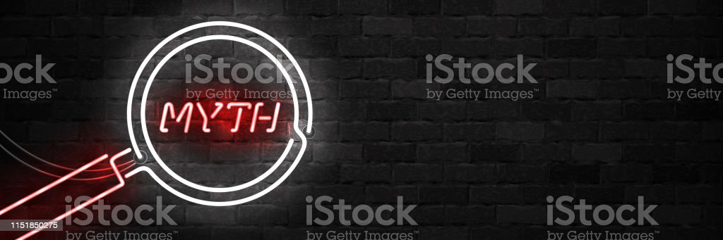 Vector realistic isolated neon sign of Myth  with magnifying glass for template decoration on the wall background. Vector realistic isolated neon sign of Myth  with magnifying glass for template decoration on the wall background. Accuracy stock vector