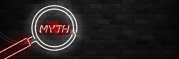 Vector Realistic Isolated Neon Sign Of Myth With Magnifying Glass For Template Decoration On The Wall Background Stock Illustration - Download Image Now
