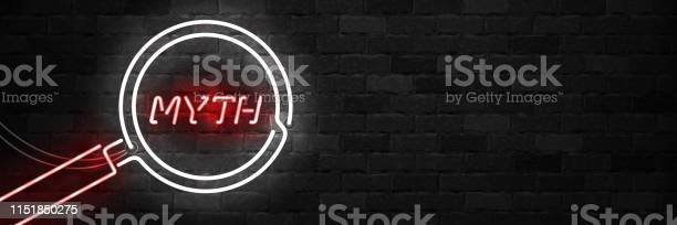 Vector Realistic Isolated Neon Sign Of Myth With Magnifying Glass For Template Decoration On The Wall Background - Immagini vettoriali stock e altre immagini di Accuratezza