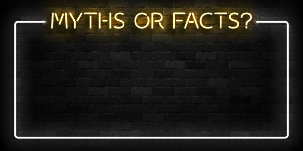 vector realistic isolated neon sign of myths or facts frame logo for template decoration on the wall background. - тайна stock illustrations