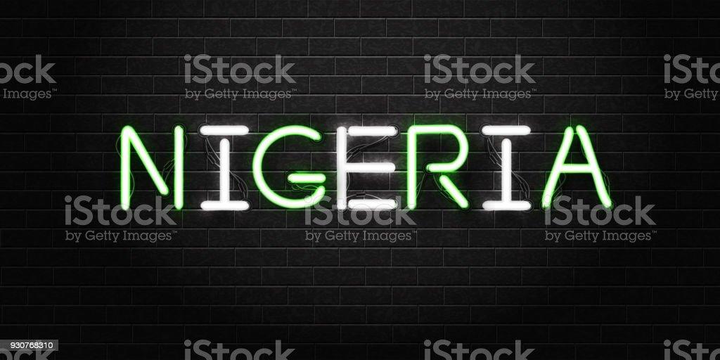 Realistische Vektor Isoliert Leuchtreklame Von Nigeria Schriftzug Für  Dekoration Und Auf Dem Hintergrund Der Wand Abdecken