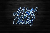 Vector realistic isolated neon sign of Night Club typography logo for decoration and covering on the wall background. Concept of dj, disco and night life.
