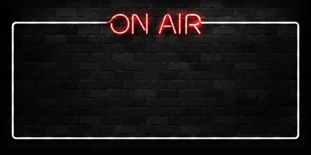 ilustrações, clipart, desenhos animados e ícones de vector realista isolado de néon do logotipo de armação no ar para a decoração e cobertura sobre o fundo da parede. conceito de rádio, radiodifusão e dj. - podcast