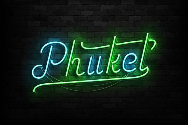 vector realistisch isoliertes neonschild von phuket typografie-logo für schablone dekoration auf dem wandhintergrund. konzept von thailand urlaub und tourismus. - pattaya stock-grafiken, -clipart, -cartoons und -symbole