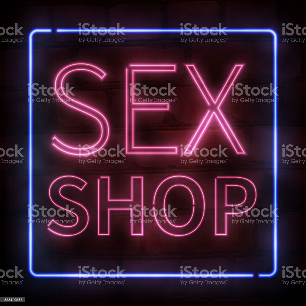 Vector realistic isolated neon sign of pink Sex Shop text for decoration and covering on the  brick wall background. vector art illustration
