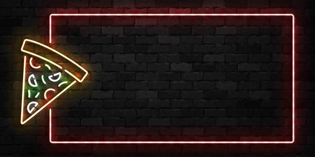 realistische vektor isoliert leuchtreklame pizza frame logo für dekoration und verkleidung auf der wand-hintergrund. konzept aus restaurant, café und italienisches essen. - pizzeria stock-grafiken, -clipart, -cartoons und -symbole