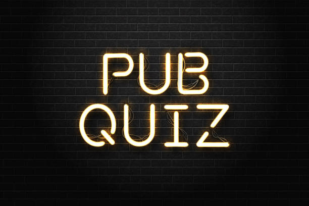 bildbanksillustrationer, clip art samt tecknat material och ikoner med vector realistiska isolerade neonskylt på pub quiz bokstäver för dekoration och täcker på väggen bakgrunden. - pub