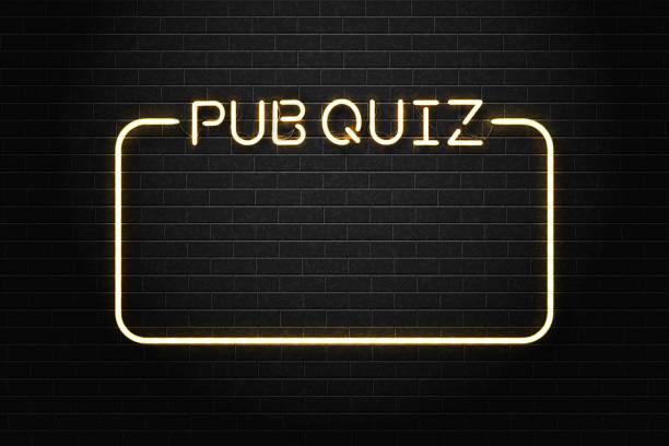 bildbanksillustrationer, clip art samt tecknat material och ikoner med vector realistiska isolerade neonskylt på pub quiz bokstäver med ram för dekoration och täcker på väggen bakgrunden. - pub