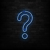 Vector realistic isolated neon sign of Question logo for decoration and covering on the wall background.