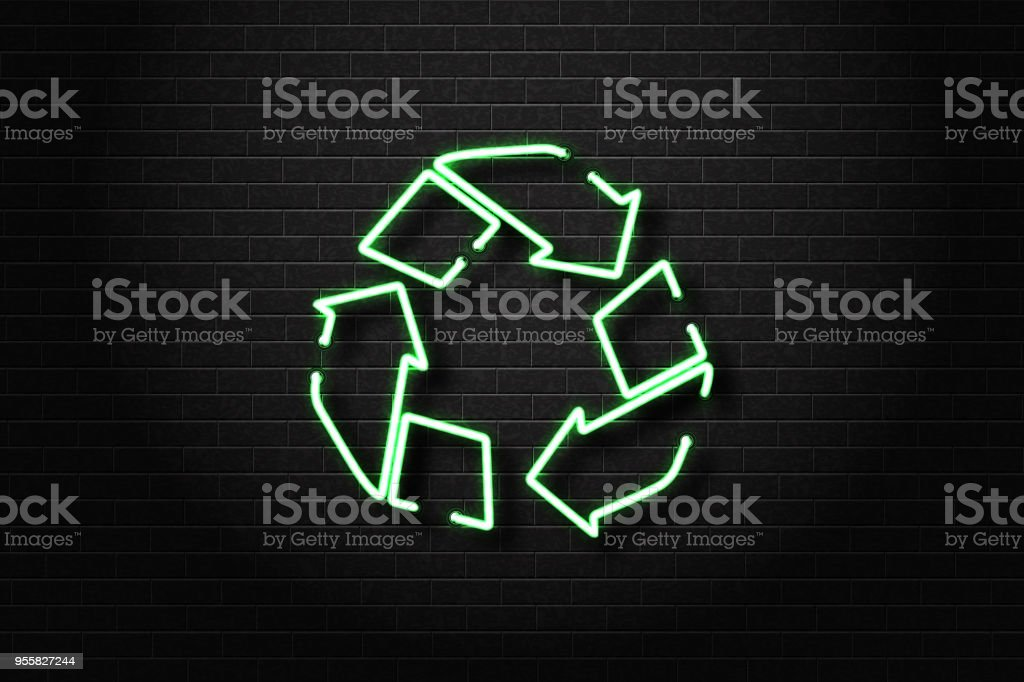 Vector Realistic Isolated Neon Sign Of Recycle Symbol For Decoration