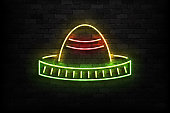Vector realistic isolated neon sign of Sombrero logo for template decoration and invitation covering on the wall background. Concept of Cinco De Mayo.