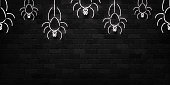 Vector realistic isolated neon sign of spiders seamless pattern for decoration and covering on the wall background. Concept of Happy Halloween.