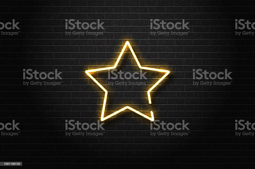 Vector realistic isolated neon sign of star for decoration and covering on the wall background. vector art illustration