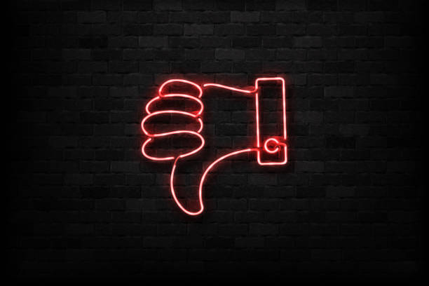 Vector realistic isolated neon sign of Thumb down logo for decoration and covering on the wall background. Concept of rating, network and social media. Vector realistic isolated neon sign of Thumb down logo for decoration and covering on the wall background. Concept of rating, network and social media. displeased stock illustrations