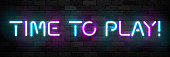Vector realistic isolated neon sign of Time to Play typography symbol for template decoration and covering on the wall background. Concept of gaming.