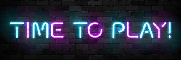 Vector realistic isolated neon sign of Time to Play typography symbol for template decoration and covering on the wall background. Concept of gaming. Vector realistic isolated neon sign of Time to Play typography symbol for template decoration and covering on the wall background. Concept of gaming. training equipment stock illustrations