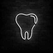 Vector realistic isolated neon sign of Tooth logo for decoration and covering on the wall background. Concept of dentist clinic and healthcare.
