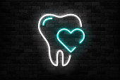 Vector realistic isolated neon sign of Tooth logo for template decoration and mockup covering on the wall background. Concept of dentist clinic and healthcare.