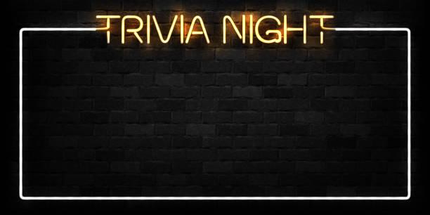 bildbanksillustrationer, clip art samt tecknat material och ikoner med vector realistiska isolerade neonskylt av trivia natt ram för dekoration och beläggning på väggen bakgrunden. - pub