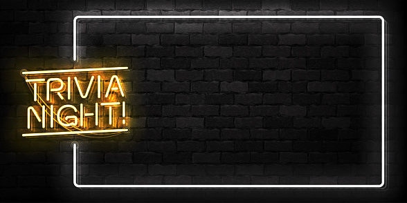 Vector realistic isolated neon sign of Trivia Night frame logo for template decoration and covering on the wall background.