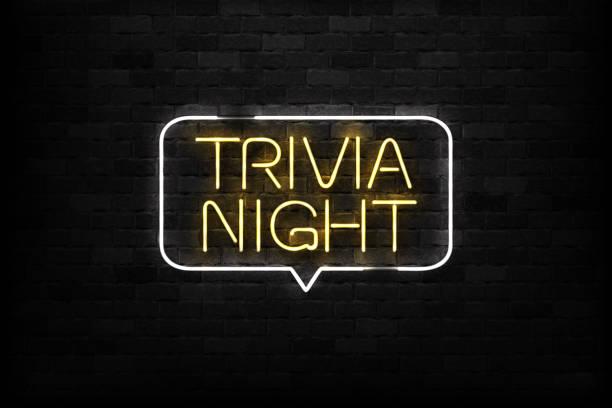 bildbanksillustrationer, clip art samt tecknat material och ikoner med vector realistiska isolerade neonskylt trivia natt logotyp för dekoration och beläggning på väggen bakgrunden. - pub