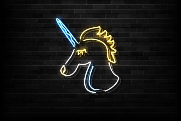 stockillustraties, clipart, cartoons en iconen met realistische vector geïsoleerd neon teken van unicorn logo voor decoratie en bekleding op de muur achtergrond. - festival logo baby