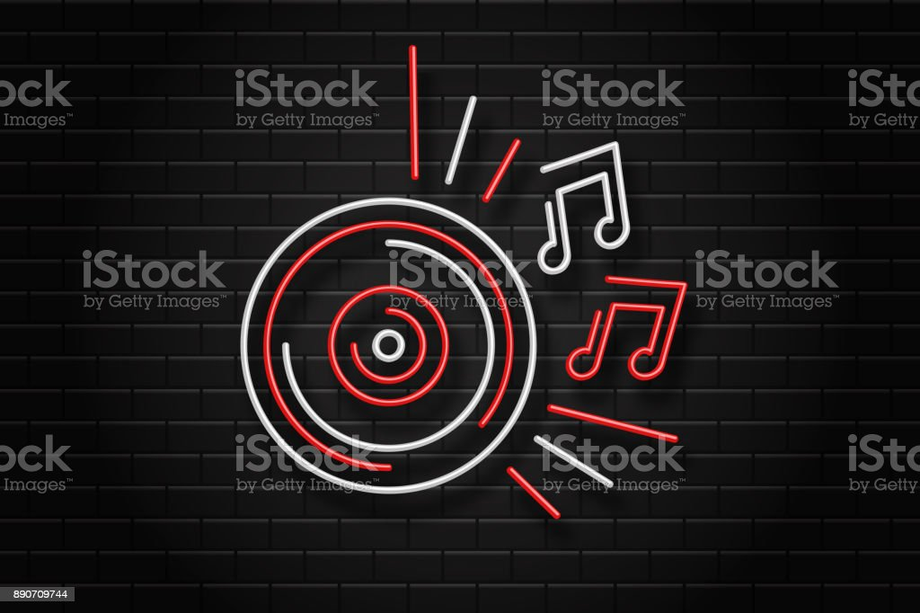 Vector realistic isolated neon sign of vinyl record for decoration and covering on the wall background. Concept of dj, night club and music. vector art illustration
