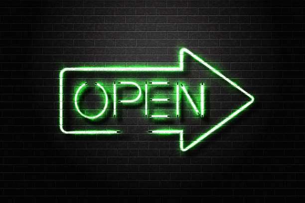 vector realistic isolated neon sign open lettering for decoration and covering on the wall background. - open sign stock illustrations
