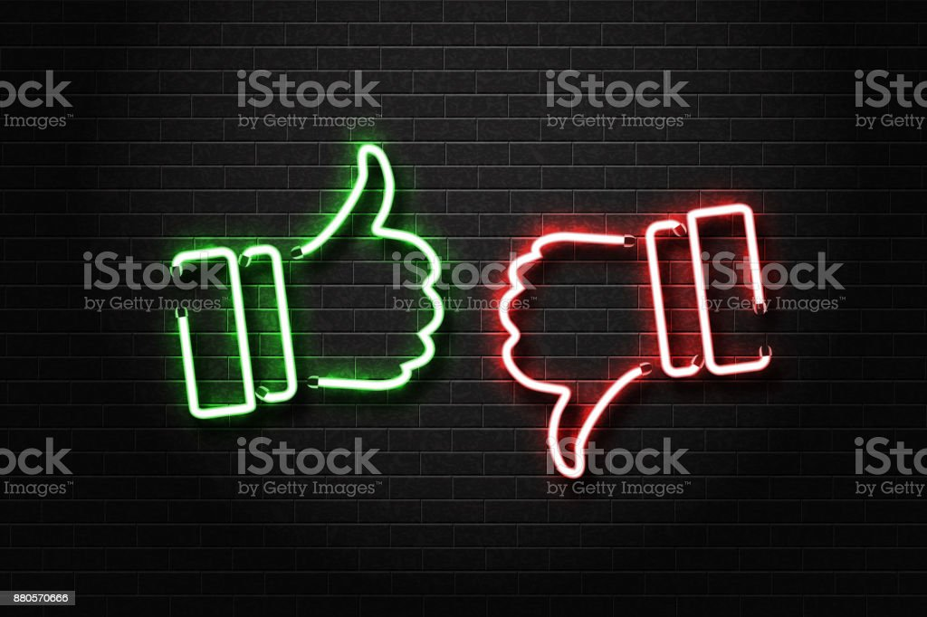 Vector realistic isolated neon signs of thumbs up and down on the wall background. Concept of rating, network and social media. vector art illustration