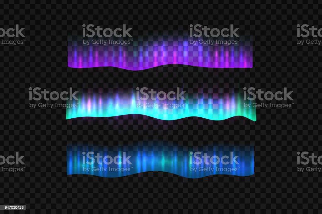 Aurora do Norte isolado realista de vetor luzes fronteiras para a decoração e cobertura no plano de fundo transparente. - ilustração de arte em vetor
