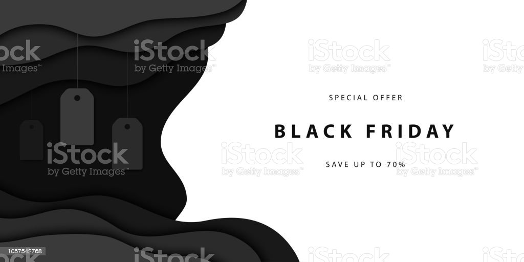Vector realistic isolated papercut promo poster for Black Friday sale for template and layout decoration on the white background. Concept of discount and special offer. - Royalty-free 2019 arte vetorial