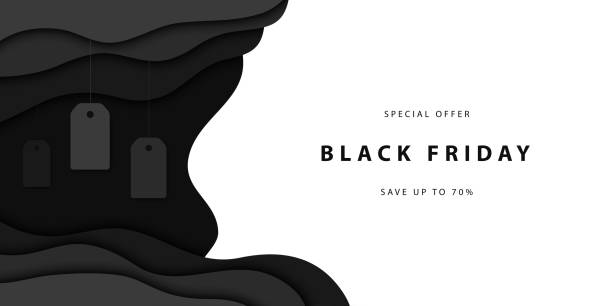 Vector realistic isolated papercut promo poster for Black Friday sale for template and layout decoration on the white background. Concept of discount and special offer. Vector realistic isolated papercut promo poster for Black Friday sale for template and layout decoration on the white background. Concept of discount and special offer. black friday sale stock illustrations